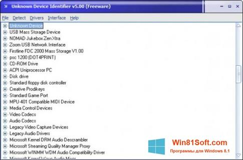 Скриншот программы Unknown Device Identifier для Windows 8.1