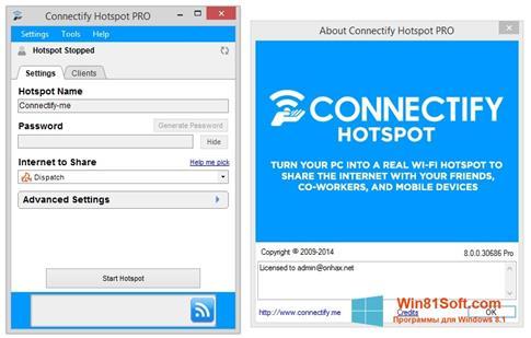 Скриншот программы Connectify Hotspot для Windows 8.1