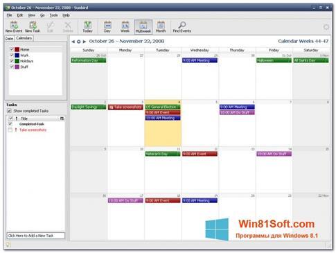 Скриншот программы Mozilla Sunbird для Windows 8.1