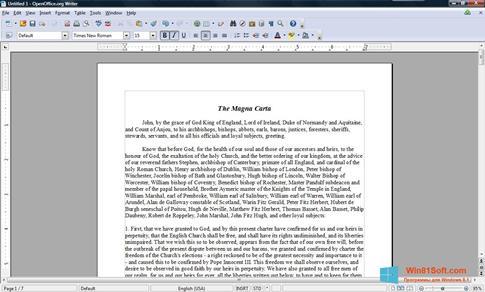 Скриншот программы OpenOffice для Windows 8.1
