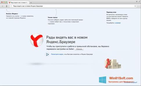 Скриншот программы Яндекс Браузер для Windows 8.1