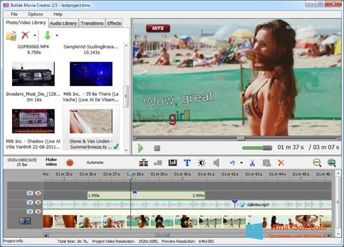 Скриншот программы Bolide Movie Creator для Windows 8.1