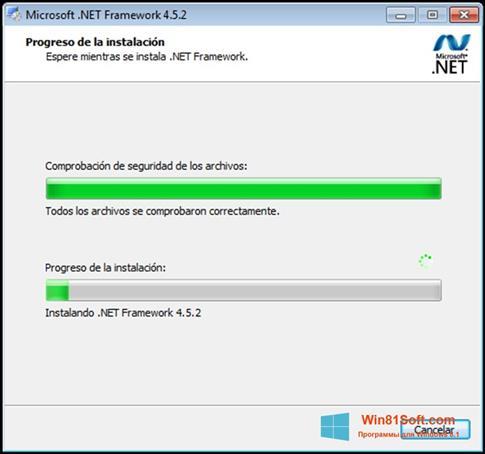 Скриншот программы Microsoft.NET Framework для Windows 8.1