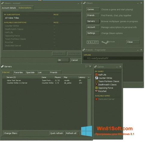 Скриншот программы Steam для Windows 8.1