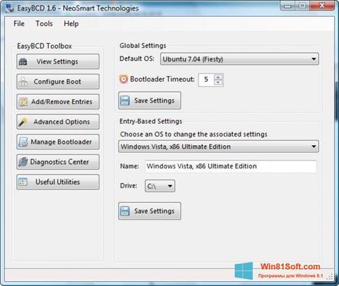 Скриншот программы EasyBCD для Windows 8.1