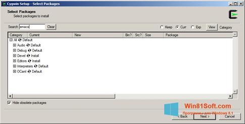 Скриншот программы Cygwin для Windows 8.1