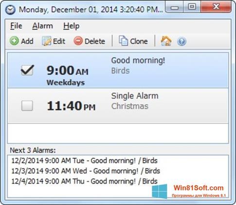 Скриншот программы Free Alarm Clock для Windows 8.1