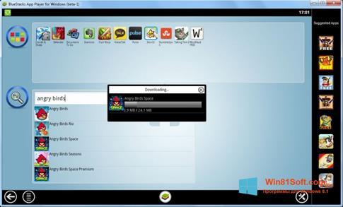 Скриншот программы BlueStacks для Windows 8.1