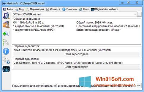 Скриншот программы MediaInfo для Windows 8.1