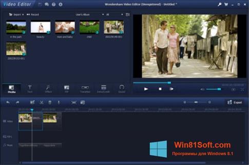 Скриншот программы Wondershare Video Editor для Windows 8.1