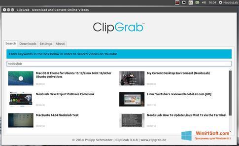 Скриншот программы ClipGrab для Windows 8.1