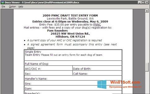Скриншот программы DocX Viewer для Windows 8.1