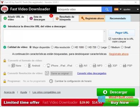 Скриншот программы Fast Video Downloader для Windows 8.1