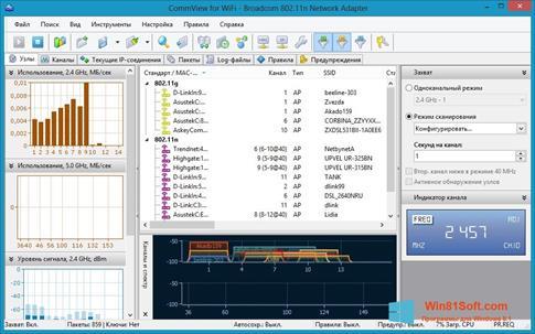 Скриншот программы CommView for WiFi для Windows 8.1