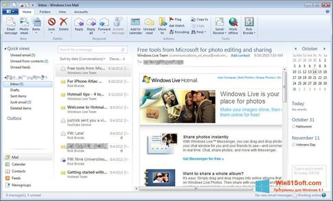 Скриншот программы Windows Live Mail для Windows 8.1