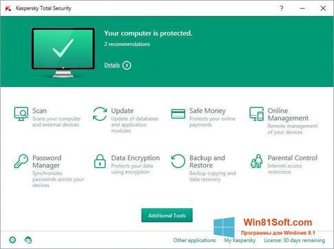 Скриншот программы Kaspersky Total Security для Windows 8.1