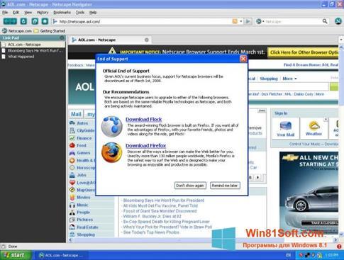Скриншот программы Netscape Navigator для Windows 8.1