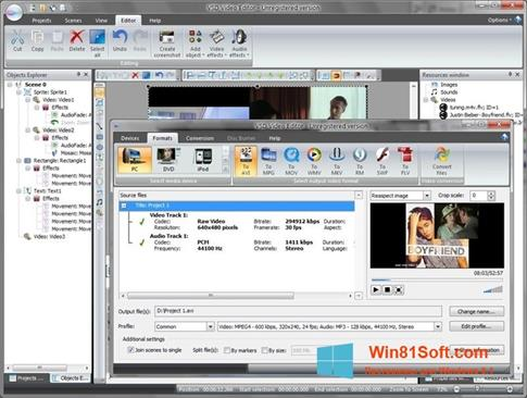 Скриншот программы Free Video Editor для Windows 8.1