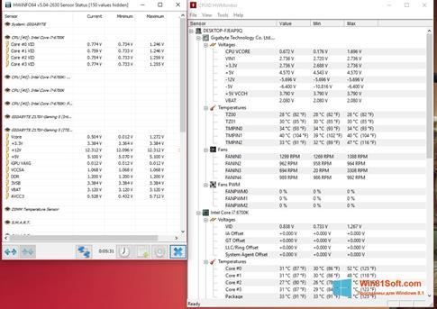 Скриншот программы HWMonitor для Windows 8.1