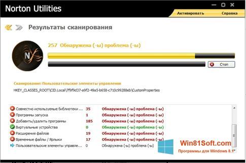Скриншот программы Norton для Windows 8.1