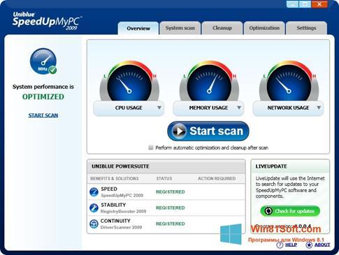 Скриншот программы SpeedUpMyPC для Windows 8.1