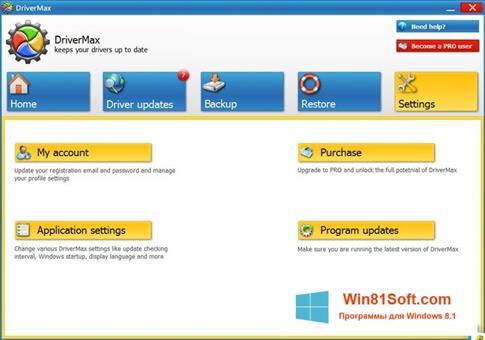 Скриншот программы DriverMax для Windows 8.1