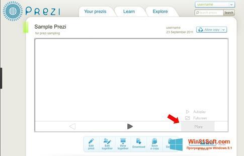 Скриншот программы Prezi для Windows 8.1