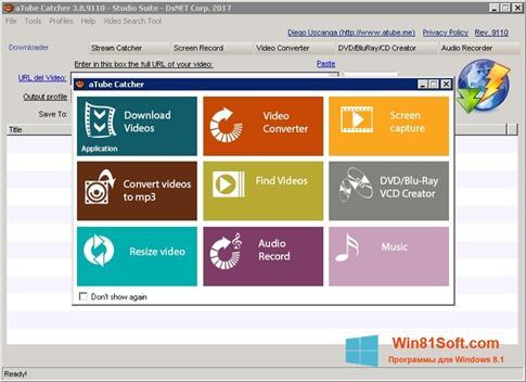 Скриншот программы aTube Catcher для Windows 8.1