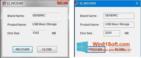 Скриншот программы EzRecover для Windows 8.1