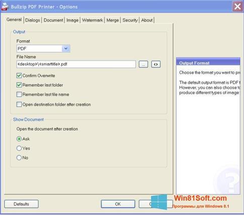 Скриншот программы BullZip PDF Printer для Windows 8.1