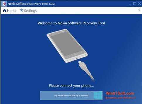 Скриншот программы Nokia Software Recovery Tool для Windows 8.1