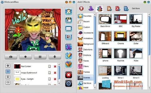Скриншот программы WebcamMax для Windows 8.1