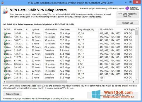Скриншот программы VPN Gate для Windows 8.1