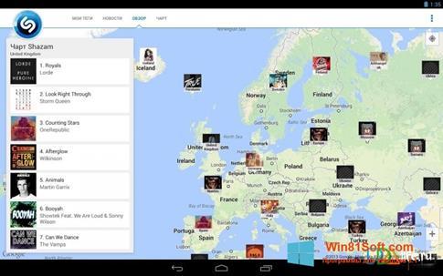 Скриншот программы Shazam для Windows 8.1