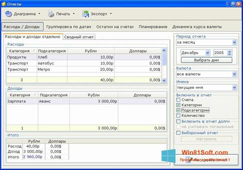 Скриншот программы Домашняя бухгалтерия для Windows 8.1