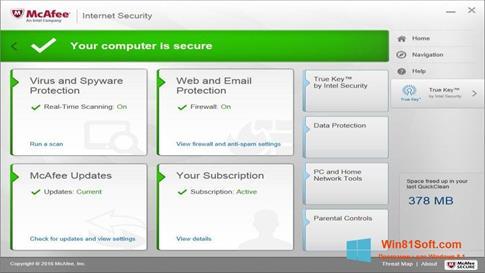 Скриншот программы McAfee Internet Security для Windows 8.1