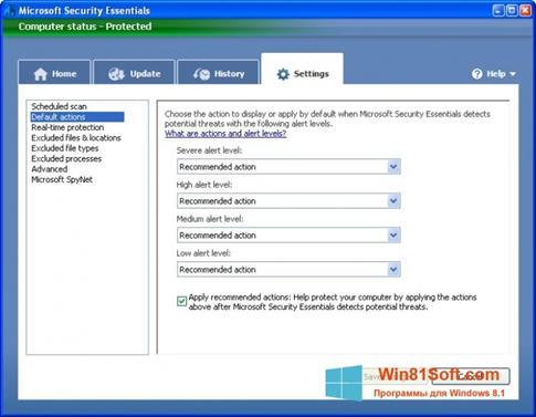 Скриншот программы Microsoft Security Essentials для Windows 8.1