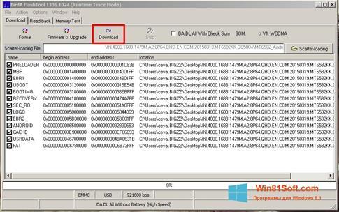 Скриншот программы FlashTool для Windows 8.1
