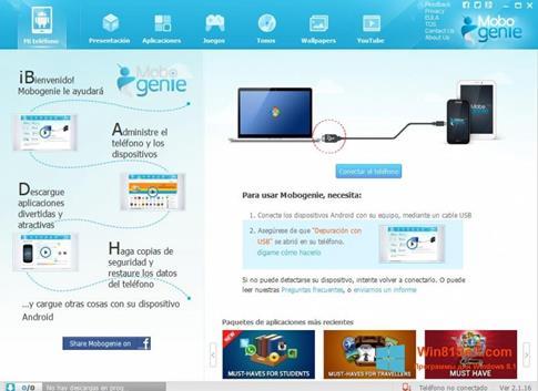Скриншот программы Mobogenie для Windows 8.1