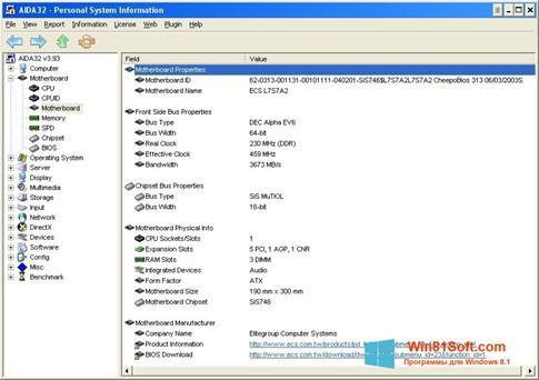 Скриншот программы AIDA32 для Windows 8.1