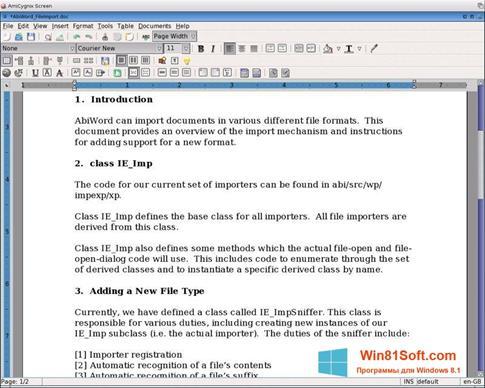 Скриншот программы AbiWord для Windows 8.1