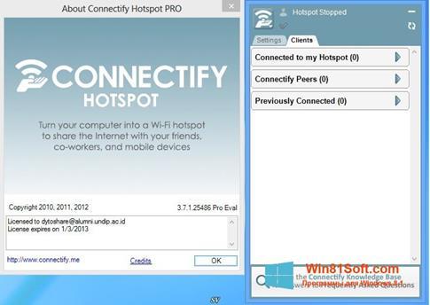 Скриншот программы Connectify для Windows 8.1