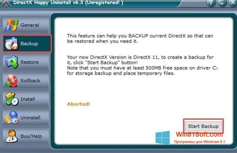 Скриншот программы DirectX Happy Uninstall для Windows 8.1