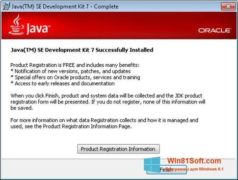 Скриншот программы Java для Windows 8.1