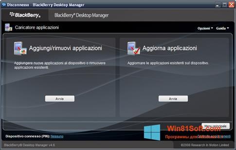 Скриншот программы BlackBerry Desktop Manager для Windows 8.1