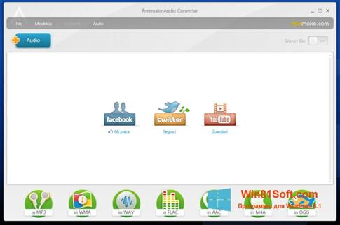 Скриншот программы Freemake Audio Converter для Windows 8.1
