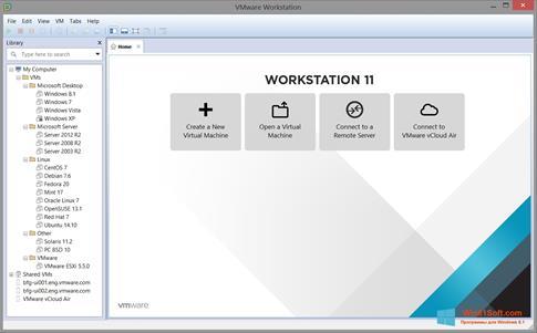 Скриншот программы VMware Workstation для Windows 8.1