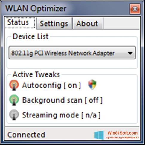 Скриншот программы WLAN Optimizer для Windows 8.1