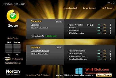 Скриншот программы Norton AntiVirus для Windows 8.1