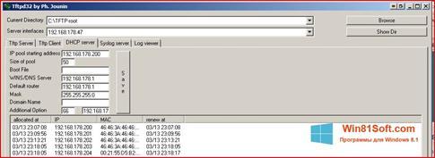 Скриншот программы Tftpd32 для Windows 8.1